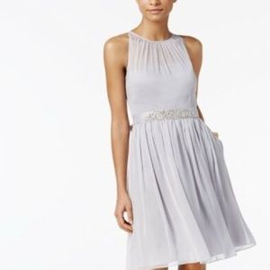 ADRIANNA PAPELL | belted chiffon belted dress